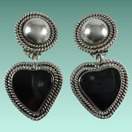 Vintage Taxco Sterling Silver Onyx Heart Clip-on Earrings