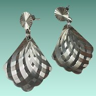 Vintage Taxco Sterling Silver Fan Shaped Pierced Earrings