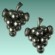 Early Mexican Sterling Silver Pair of Matching Grape Brooches