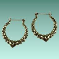 Vintage 10k Yellow Gold Puffy Hearts Pierced Earrings