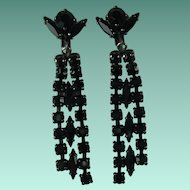 Vintage Sherman Black Rhinestone Chandelier Clip-on Earrings