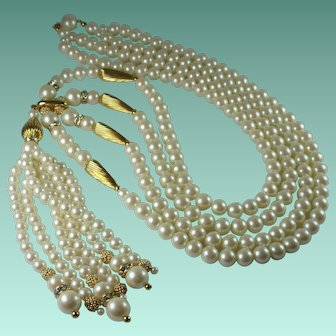 Vintage 1960s Faux Pearl Rhinestone Statement Tassel Necklace