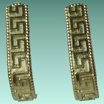 Vintage 14 Karat Yellow Gold Greek Key Design Earrings