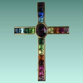 Vintage Rainbow Rhinestone Cross Brooch