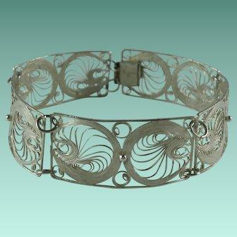 Vintage Sterling Silver Filigree Panel Bracelet Mexico