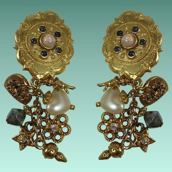 Vintage Angel Theme Charms Statement Clip Earrings