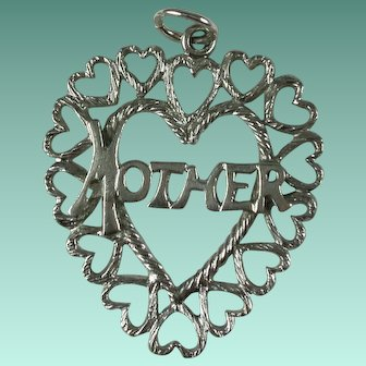 Vintage Sterling Silver Mother Hearts Charm/Pendant