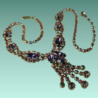 Vintage Red Purple Aurora Borealis Crystal Rhinestone Necklace