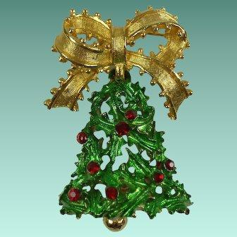 Vintage MYLU Christmas Bell Brooch