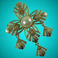 Vintage Maltese Cross Gold Tone Metal Statement Brooch