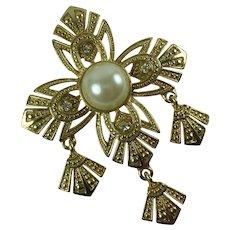 Vintage Maltese Cross Gold Tone Metal Statement Brooch