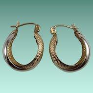 Vintage 10 Karat Gold Two Hoop Pierced Earrings