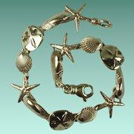 Vintage Italian 14 Karat Yellow Gold Sea Theme Bracelet