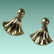 Vintage 10k Yellow Gold Fan Shaped Pierced Earrings