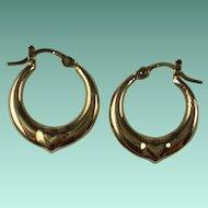Vintage 10k Yellow Gold Hoop Heart Pierced Earrings