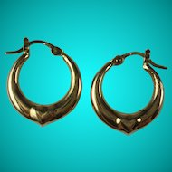 Vintage 10k Yellow Gold Hoop Heart Pierced Earrings