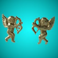 Vintage 14k Yellow Gold Cupid Pierced Earrings
