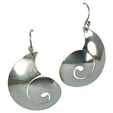 Vintage Sterling Silver Conch Shell Design Large Pierced Dangle Earrings