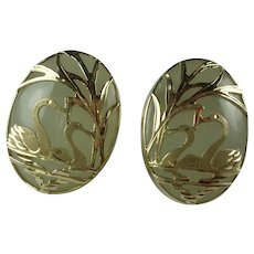 Vintage 14k Yellow Gold Swan Design Jade Earrings