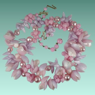Vintage 1950s Germany Pink and Lilac Lucite Plastic Shells Beads Necklace