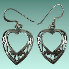 Vintage Sterling Silver Filigree Openwork Heart Dangle Earrings