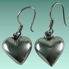 Vintage Sterling Silver Heart Dangle Pierced Earrings
