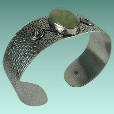 Southwest Sterling Silver Green Quartz Large Cuff Bracelet