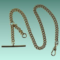 Vintage Gold Plated Watch Chain with T-Bar