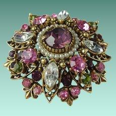 Vintage Florenza Pink Purple Rhinestone Domed Flower Brooch