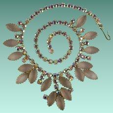 Vintage Pink Aurora Borealis Rhinestone Necklace