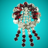 Vintage Large Red White Rhinestone Tassel Statement Brooch