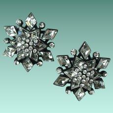 Vintage Crystal Rhinestone Snowflake Earrings Designer St John