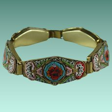 Vintage Micromosaic Tile Italy LInk Bracelet