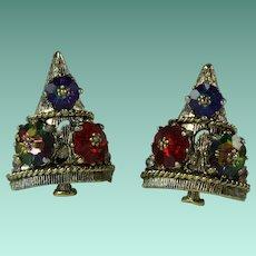 Vintage Weiss Christmas Tree Margarita Rhinestone Clip on Earrings