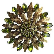 Vintage Peridot Green Rhinestone Large Flower Brooch