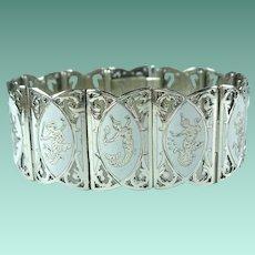 Vintage Sterling Silver White Enamel Siam Niello Panel Bracelet