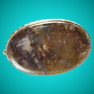 Antique Dendrite Moss Agate Oval Brooch