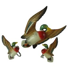 Vintage Carved Wooden Painted Mallard Duck Brooch and Earrings Set