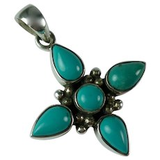 Vintage Native American Turquoise Sterling Silver Flower Pendant
