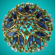 Vintage Florenza Blue Green Rhinestone Domed Brooch