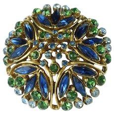 Vintage Florenza Blue Green Rhinestone Domed Brooch