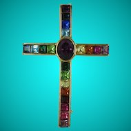Vintage Rainbow Rhinestone Cross Brooch
