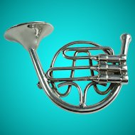 Vintage French Horn Instrument Silver Tone Brooch