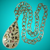 Vintage 1960s Sarah Coventry Rhinestone Pendant Necklace