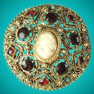 Vintage Florenza Rhinestone Faux Cameo Brooch