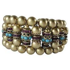Vintage Bead and Rhinestone Rondelles Memory Wire Wrap Bracelet