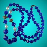 Vintage Blue Plastic Bead Long Statement Necklace