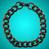 Vintage Solid Copper Curb Chain Link Bracelet