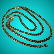 Vintage Givenchy Paris New York Gold Tone Curb Chain Rhinestone Necklace