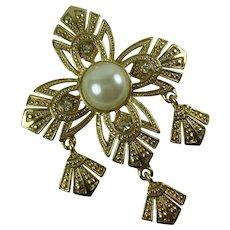 Vintage Maltese Cross Gold Tone Metal Faux Pearl Statement Brooch